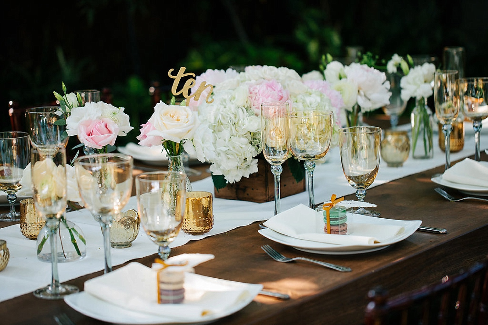 Wedding Reception Table Setting at  Happy Trails in Pasadena