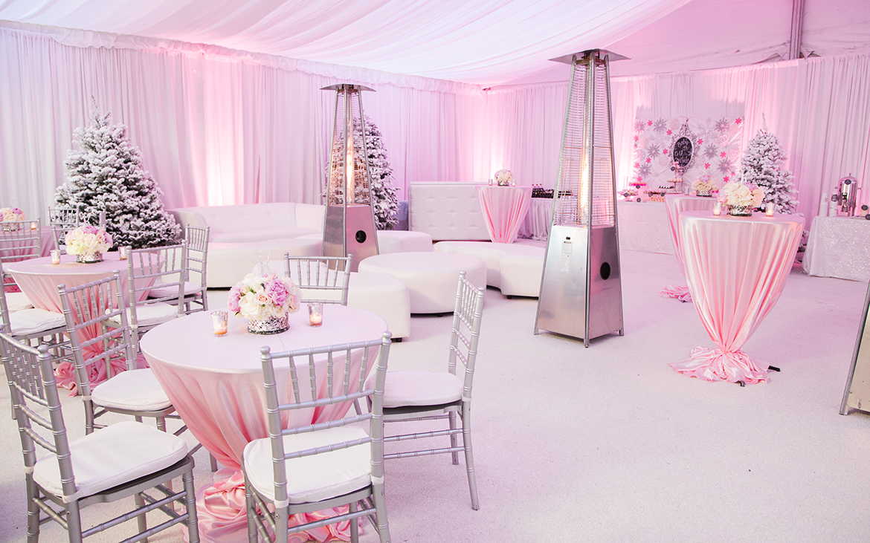 pink winter wonderland themed baby shower